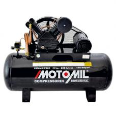Compressor de Ar 20 pés 5,0 HP 200 Litros Trifásico 220/380V - Motomil